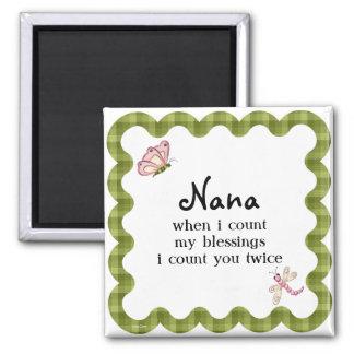 Presente das bênçãos de Nana da avó da borboleta Ímã Quadrado
