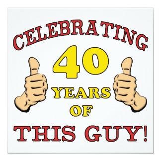 Presente de aniversário de 40 anos para ele convite quadrado 13.35 x 13.35cm