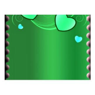 Presente de casamento esverdeado elegante dos cora cartão postal