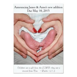 Presente do anúncio da gravidez do ~ do senhor convite 12.7 x 17.78cm