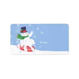 Presente do boneco de neve etiqueta de endereço