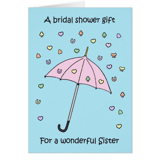 Presente do chá de panela para a irmã cartão comemorativo