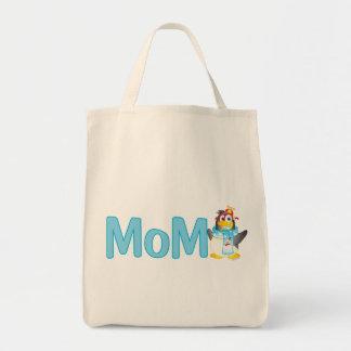 Presente do pinguim do balanço para a mamã - sacola tote de mercado