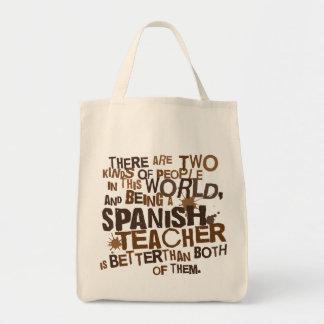 Presente espanhol do professor sacola tote de mercado