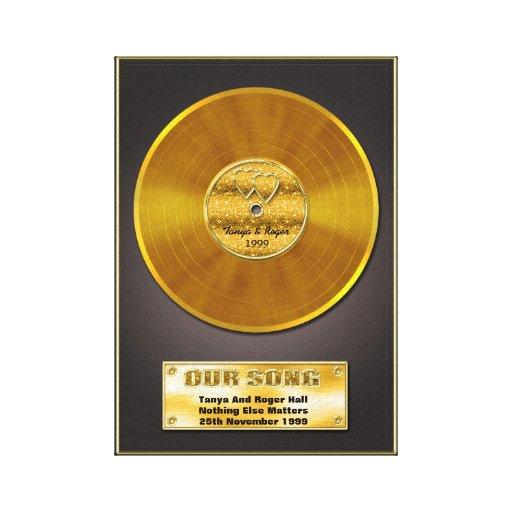 Presente especial gravado ouro da memória da data impressão de canvas envolvida