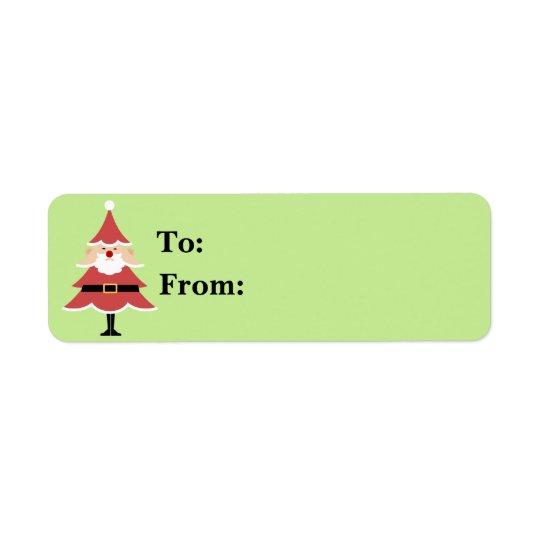 Presente Lables do papai noel da árvore de Natal Etiqueta Endereço De Retorno