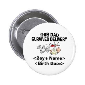 Presente personalizado do bebé do novo papai bóton redondo 5.08cm