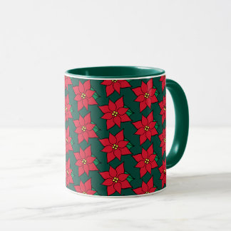 Presente vermelho da caneca de café das poinsétias