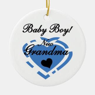Presentes azuis do coração do bebé novo da avó ornamento de cerâmica redondo