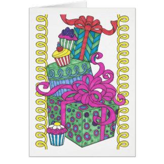 Presentes azuis e verdes do cartão de aniversário