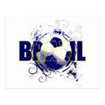 Presentes brasileiros azuis dos amantes do futebol cartao postal