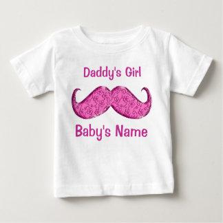 Presentes cor-de-rosa bonito do bebê do bigode camiseta para bebê