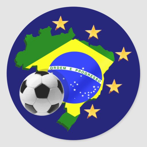 Presentes da bola de futebol das estrelas do mapa adesivo redondo