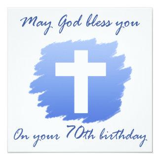 Presentes de aniversário cristãos do 70 convite quadrado 13.35 x 13.35cm
