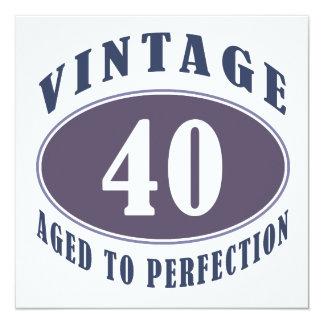 Presentes de aniversário de 40 anos do vintage convite quadrado 13.35 x 13.35cm