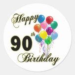 Presentes de aniversário do 90 e roupa felizes do adesivo em formato redondo