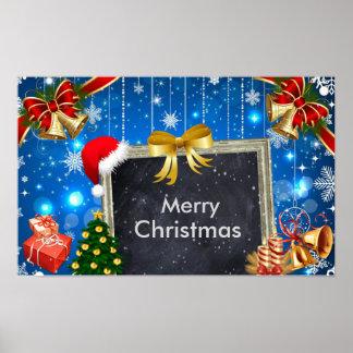 Presentes de Bels de Natal e poster da decoração