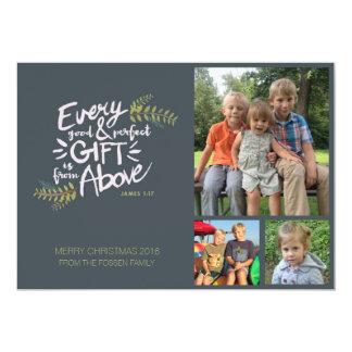 Presentes de cima dos cartões de foto de Natal Convite 12.7 X 17.78cm