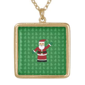 Presentes de Papai Noel Colar Com Pendente Quadrado