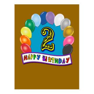 Presentes de segundo aniversário e roupa felizes cartão postal