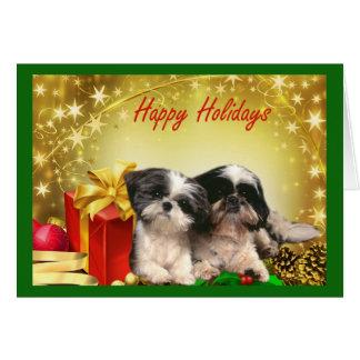 Presentes do cartão de Natal de Shih Tzu