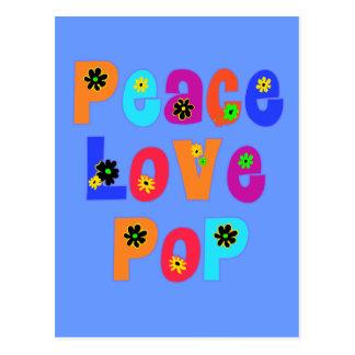 Presentes do dia dos pais do pop do amor da paz cartão postal