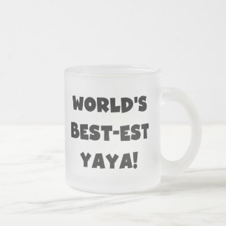 Presentes do Melhor-est Yaya do mundo preto do Caneca De Café Vidro Jateado