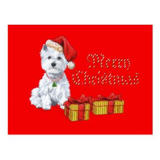 Presentes do Natal de Terrier branco de montanhas  Cartões Postais