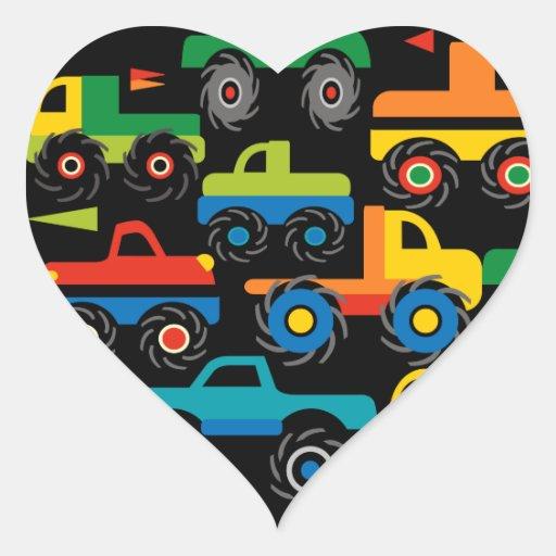 Presentes legal do transporte dos caminhões de adesivo em forma de coração
