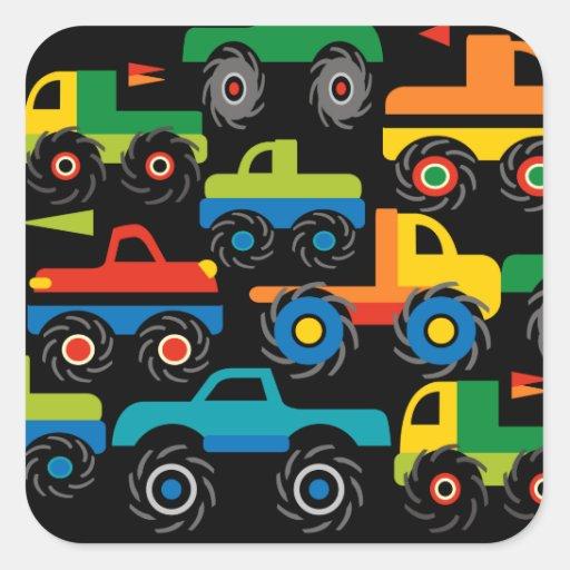 Presentes legal do transporte dos caminhões de adesivo quadrado