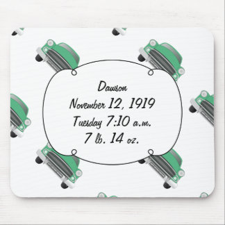 Presentes retros verdes doces do bebé do carro mouse pad