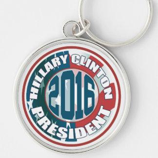 Presidente 2016 de Hillary Clinton Chaveiro Redondo Na Cor Prata