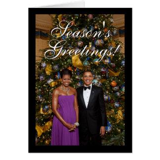 Presidente Barack Obama com os cartões de Natal de