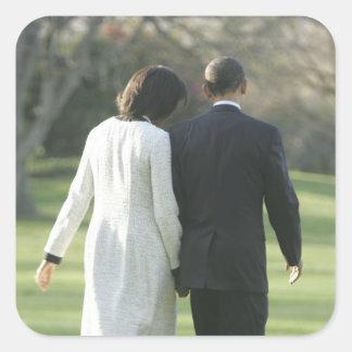 Presidente Barack Obama e primeira senhora Adesivo Quadrado