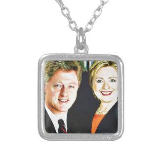 Presidente Bill Clinton & presidente Hillary Colar Banhado A Prata