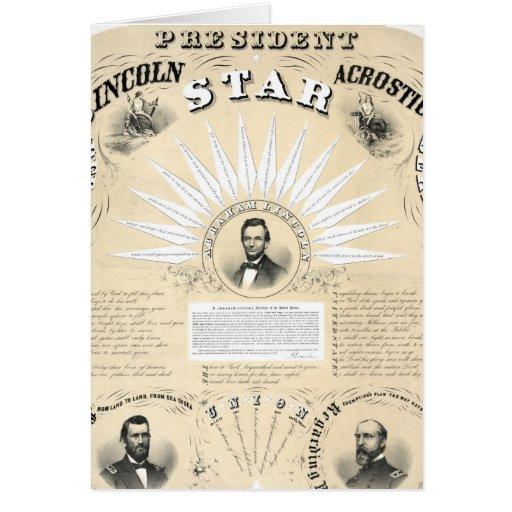 Presidente Lincoln Acrostic Estrela 1864 Cartoes