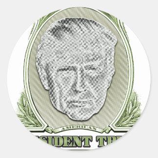 Presidente Trunfo Dólar Adesivo Redondo
