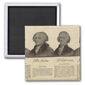 Presidentes E.U., autógrafos, biografias 2 Ímã Quadrado