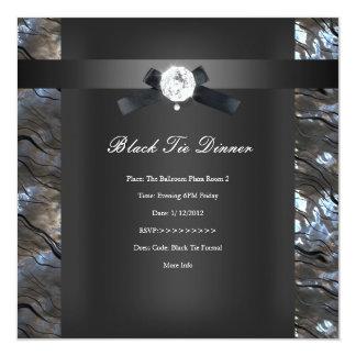 Preto 2 da prata do comensal de traje de cerimónia convite quadrado 13.35 x 13.35cm