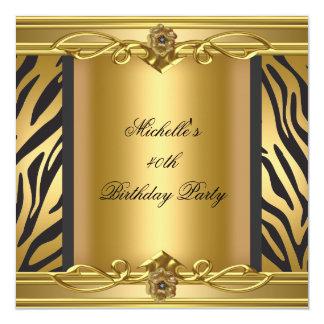 Preto 2 da zebra do ouro do partido de aniversário convite quadrado 13.35 x 13.35cm