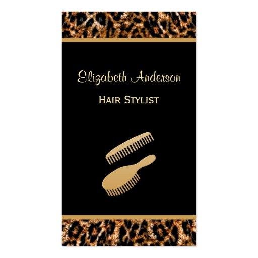 Preto à moda da escova e cabeleireiro do leopardo  cartoes de visitas