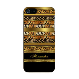 Preto animal misturado selvagem elegante e ouro