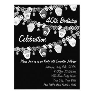 Preto+Aniversário de 40 anos branco do costume das Convite 10.79 X 13.97cm