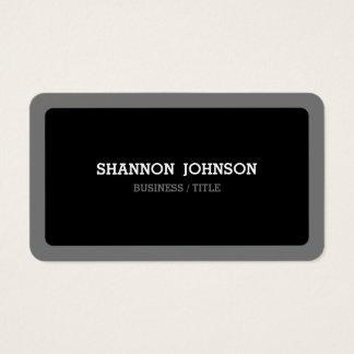 Preto arredondado e moderno mínimo cinzento cartão de visitas