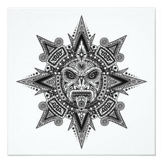 Preto asteca da máscara de Sun no branco Convite Personalizados