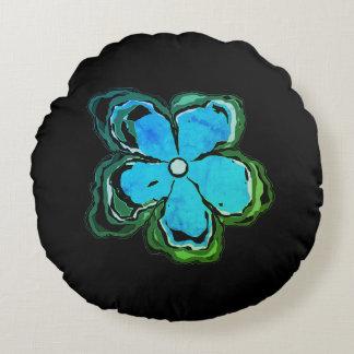 Preto azul do algodão do travesseiro decorativo almofada redonda