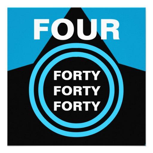 Preto azul moderno quatro oh B22 de partido de ani Convite