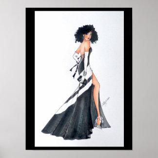 Preto bonito & poster branco da ilustração da