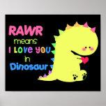 PRETO BONITO SUPER RAWR do poster do dinossauro pe