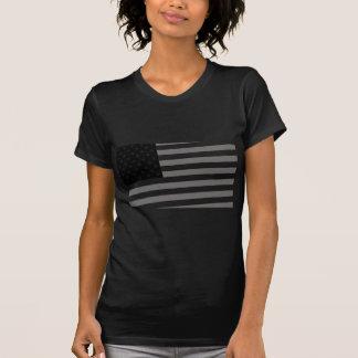 Preto branco da bandeira dos EUA Camiseta